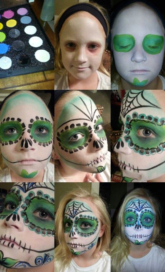 Sugar skull makeup by Mesha Sanchez step by step how to using Mehron Professional face paints.