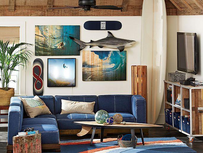 Cushy Surf Lounge, beach house decor, boys beach inspired surfs up room, shark, surfing