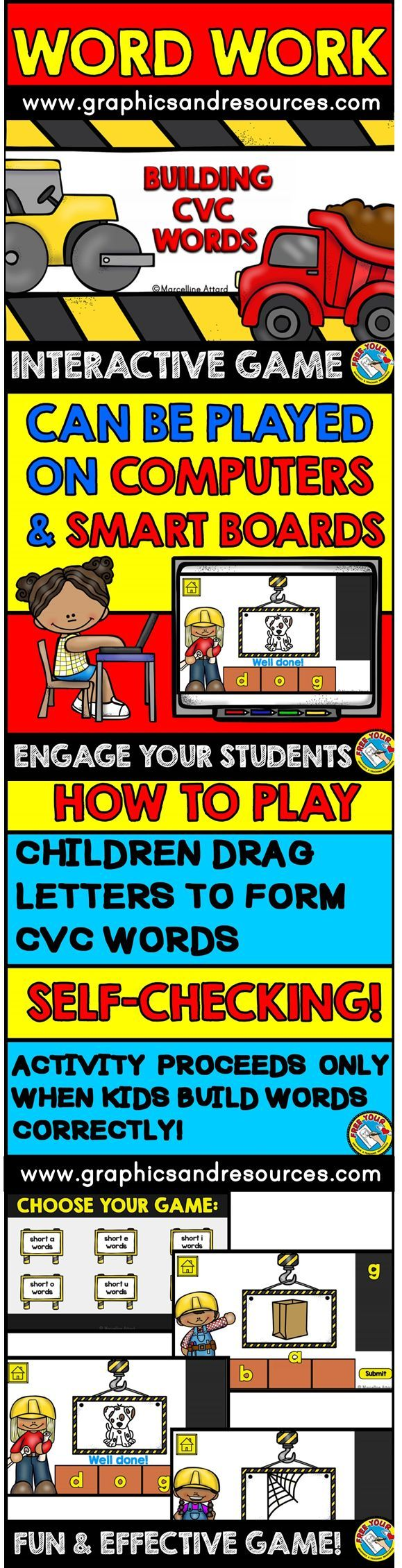 A simple and engaging game for children to practice building cvc words. This game is designed to be used on a computer or interactive whiteboard. Children drag letters onto the bricks to form the word for each cvc picture. Then they click on 'Submit' button to check if they formed the word correctly or not.  Click to view resource!