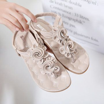Bohemia Clip Toe Elastic Casual Flat Sandals - US$24.63