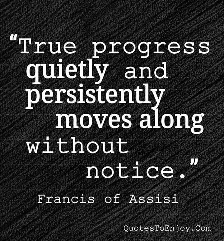 True progress quietly and persistently moves along without notice. - Francis Of Assisi, picture quote from quotestoenjoy.com. Motivational Quotes.