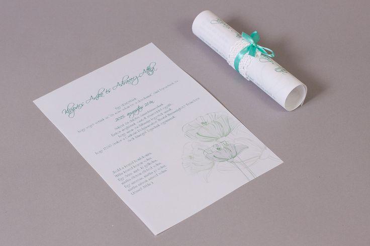 Menta kék szalaggal és csipkével díszített esküvői meghívó _ mint blue and lace wedding invitation