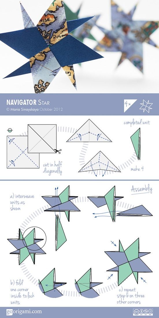 Navigator Origami Star - diagram ~abby needs to do this for extra credit for math.