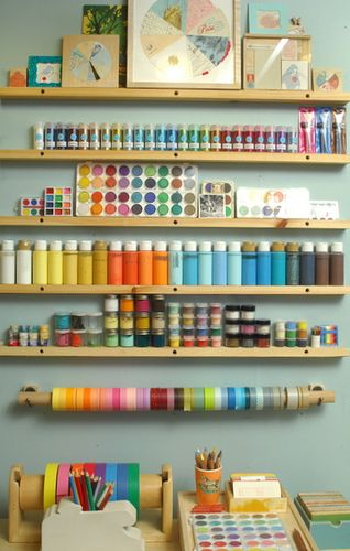 I love the organisation and colour of this person's crafty space.