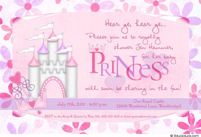Princess Baby Shower Invitation | Invitation wording, Baby ...