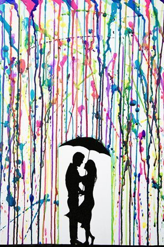 "Couple in the rain Marc Allante.  'When I came across a painting by Marc Allante and its famous colored ink rains, I thought ""What a great idea!"" .'   Inspiration, Creative, Painting, Easy & Fun"