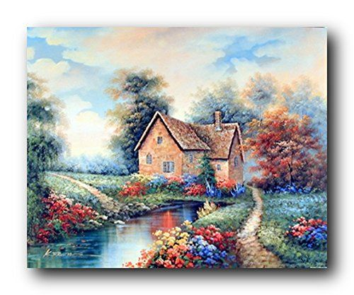 Absolutely stunning! That is what your guest will be able to say after seeing this beautiful landscape scenery nature art print poster. This poster would give a beautiful rustic touch to your home. This poster display image of charming country cottage, lake near the cottage and beautiful field covered with small colorful flowers is sure to make this poster eye popping. It is a wonderful addition to any home and goes with all décor style. Ensure high quality with high degree of color…