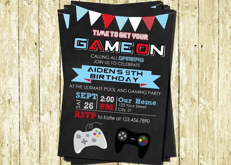 Video Game Game Truck Personalized Printed Chalkboard Birthday Invitations