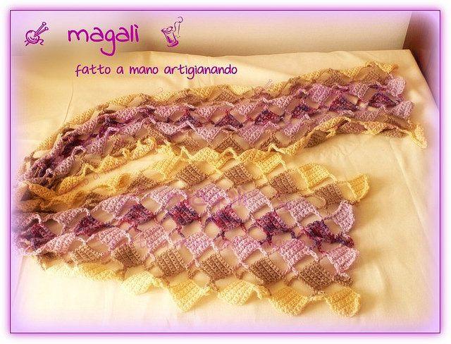 sciarpa quadratini pieni e vuoti panna beige lilla (2) - sinide magali