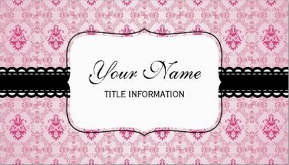 60 best girly damask business cards images on pinterest business vintage pink damask pattern with black lace ribbon and name plate business cards http reheart Gallery