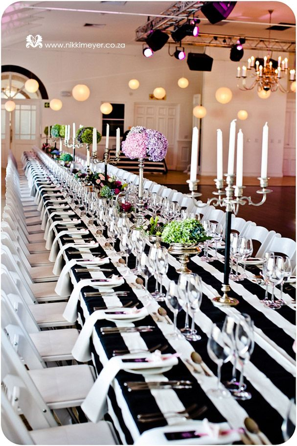 A black and white table setting makes for a dynamic wedding breakfast, now what food to put on those plates that don't undermine the wow factor......