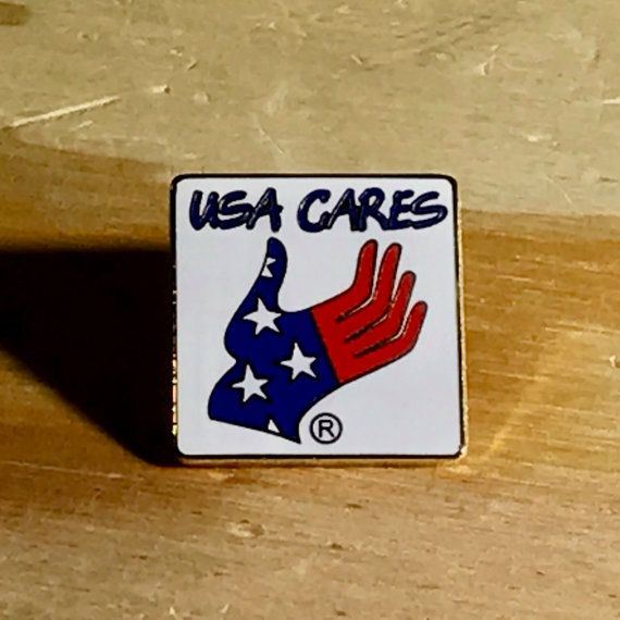 JULY 4th SUPER-SALE // Usa Cares Vintage American Flag Stars & Stripes Pin | Patriotic Lapel Pin | Vintage Flag Pin - Great Gift!