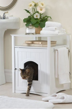 Great idea for hiding the cat litter.