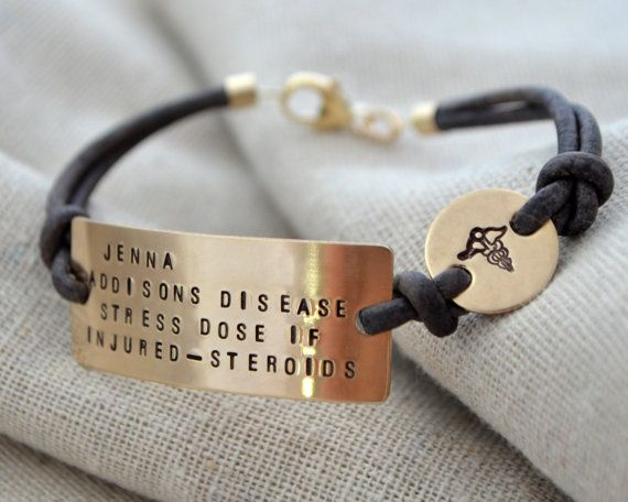 Four Line Gold Medical ID Bracelet  Customize  by ThoughtBlossoms