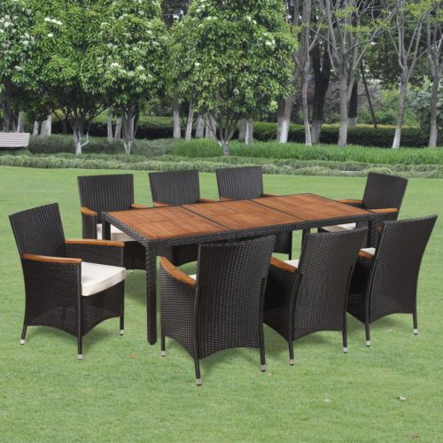 vidaxl patio rattan wicker outdoor dining set garden furniture table chair black