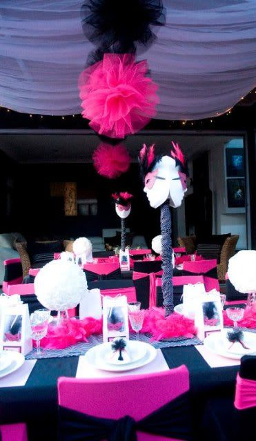 mascarade party: Sweet 16, Masquerades Parties, Masquerades Ball, Tulle Pom, Ball Parties, Parties Ideas, Dinners Parties, Tulle Ball, Sweet16