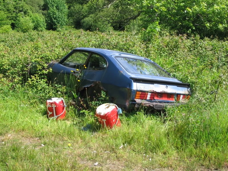 A ford capri in the irish countryside bearing an old for Red barn motors austin tx