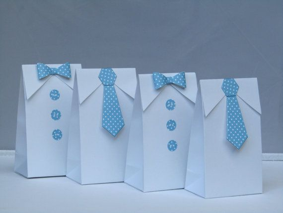 Little Man Blue Polka Dots Bow Tie - Tie Favor Bag-Baby Shower Candy Bag-Baby…