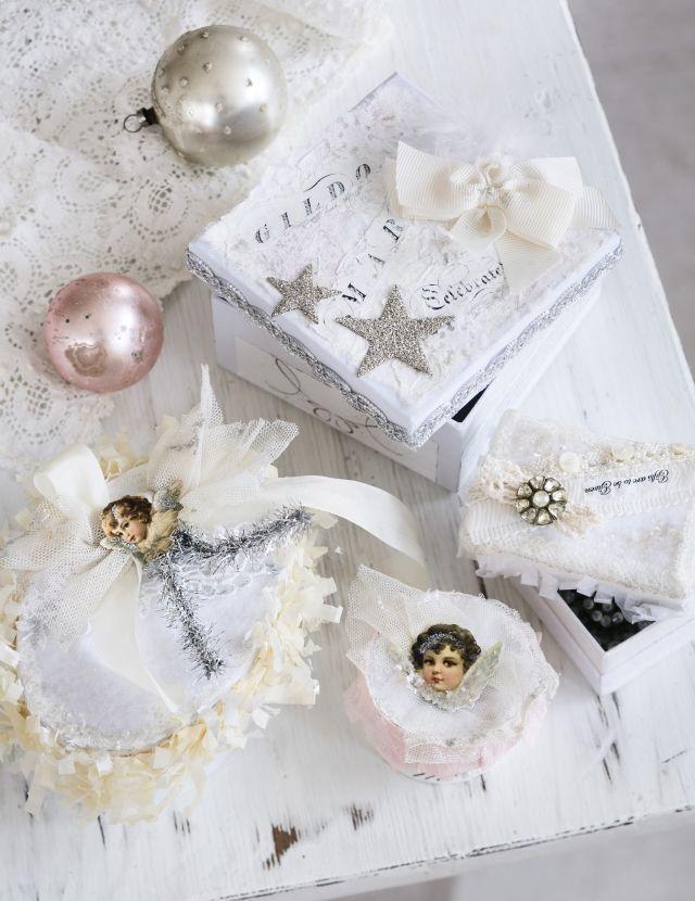 Tee itse romanttiset rasiat joululahjoille. Craft romantic christmas gift boxes.   Unelmien Talo&Koti Kuva: Satu Nyström Toimittaja: Hanna Sandström