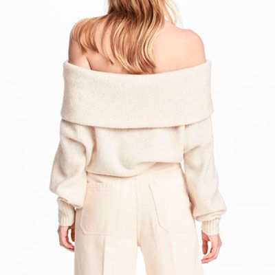 H&M Sweater - white off the shoulder sweater