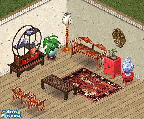 Includes: Chair, Bookcase, Coffeetable, Endtable, Painting, Floor Lamp, Loveseat, Vase, Rug  Found in TSR Category 'Livingrooms'