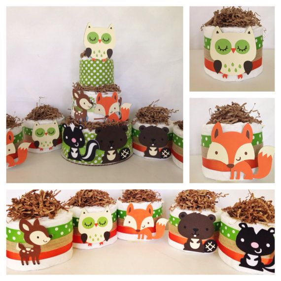 Set of Five Mini Woodland Theme Diaper Cakes, Woodland Theme Baby Shower Centerpieces, Baby Boy on Etsy, $50.00