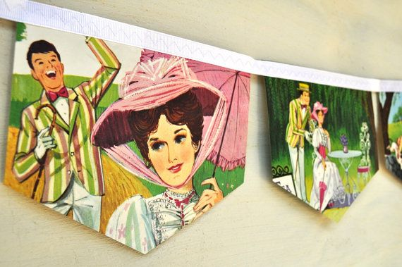 Mary Poppins, A Jolly Holiday: Vintage Little Golden Book Bunting Banner Paper Children Repurposed Decoration
