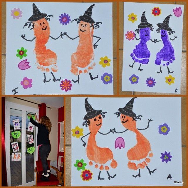 sorcières avec empreintes de pieds