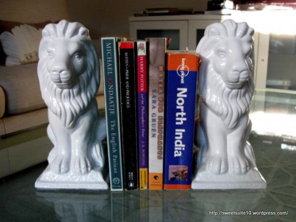 yeah, this Dollar Store Crafts website has some cool stuff. Bookends from garden statues!