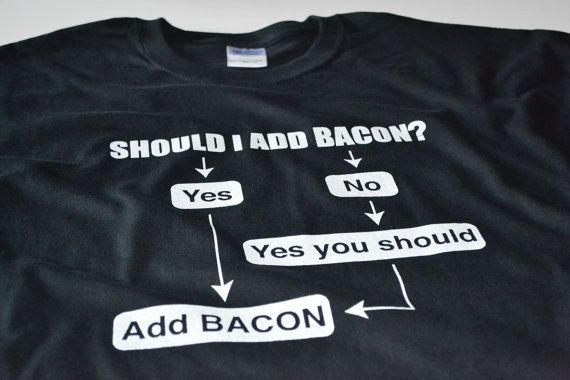 Bacon? http://www.etsy.com/listing/115935484/funny-bacon-tshirt-geekery-bacon-lover-t