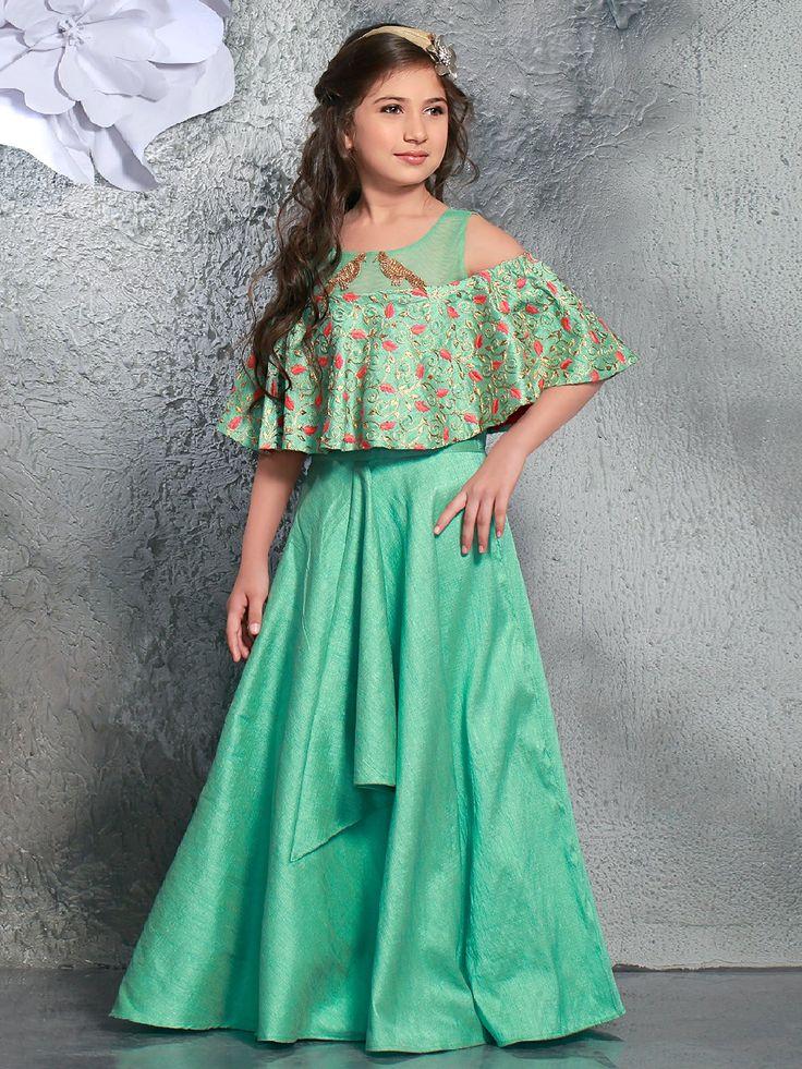 Silk Designer Green Gown, green color, designer gown, silk fabric, party wear