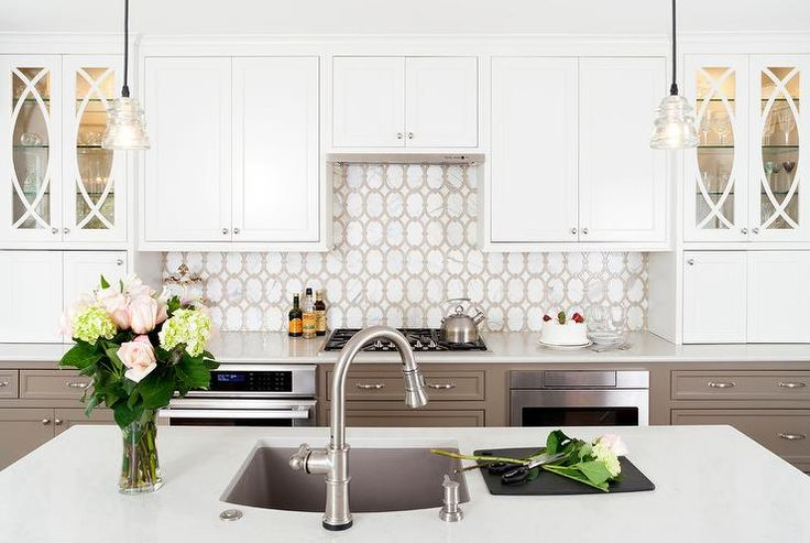 Exquisite white and taupe kitchen
