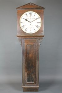 John Walker, South Molton Street, London. A Victorian oak  cased railway station regulator, having Roman painted dial without minute track and red painted Arabic numerals, the dial signed  and inscribed B.R.S, 696.B. SOLD FOR £1900