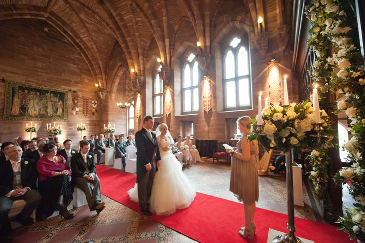 Civil ceremony in the Great Hall at Peckforton Castle