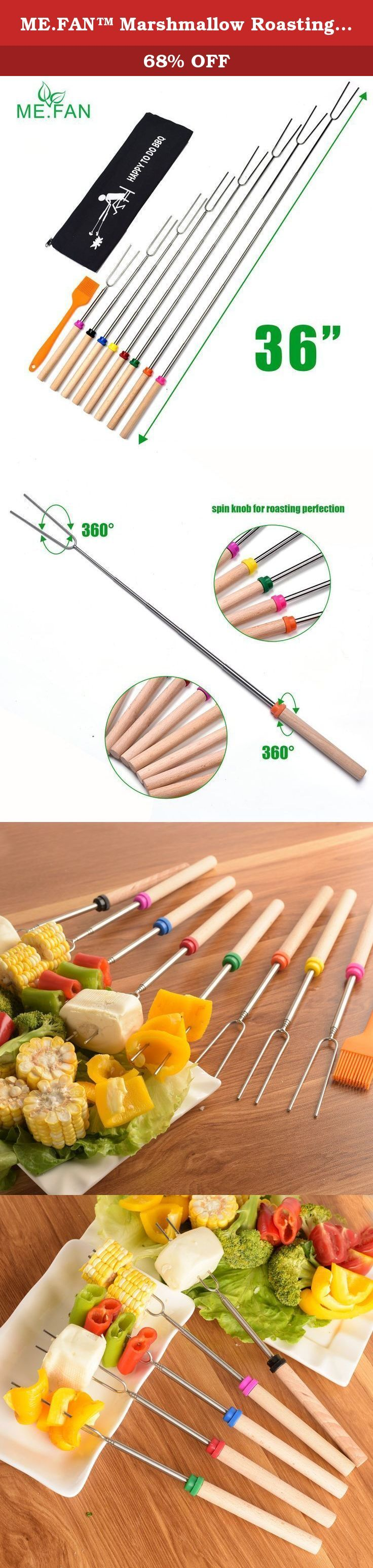 ME.FAN™ Marshmallow Roasting Sticks - Telescoping Smores Skewers & Campfire Hot Dog Forks - Set of 8 Camping Accessories Travel Grill 32 In - FREE Canvas Pouch + Silicone Basting Brush. Are You Ready To Do The Delicious Grilled Food And Create Fun-Filled Memories Around The Campfire With Your Family And Friends? NOW! TRY OUR BEST MARSHMALLOW ROASTING FORKS, YOU WILL LOVE THEM WHEN YOU FIRST USE. Why Are You Choose ME.FAN Telescoping Roasting Forks? First: BPA free and FDA approved…