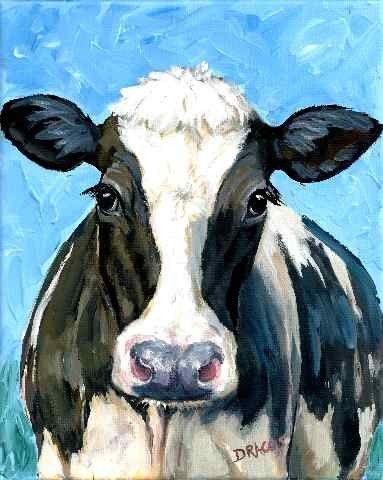 Holstein Cow 2 Farm Animal Art Original Painting Dottie Dracos No. 14 12x15 print blue Any Age Unisex