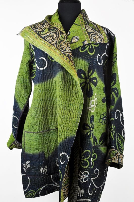 Mieko Mintz pocket kantha jacket - green, navy