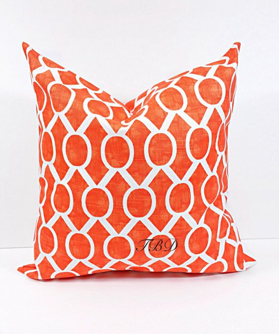 Orange Pillow cover. Burnt Orange and by TwistedBobbinDesigns