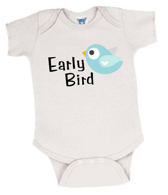 Early Bird Preemie Boy's Onesie, Preemie Bodysuit, Preemie Boy Onesie, Preemie Boy Clothes, Preemie Boy Clothing, Preemie Baby Boy by EarlyArrivalBoutique on Etsy
