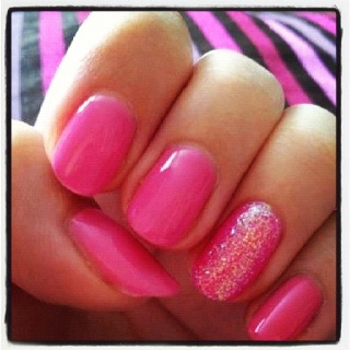 Jade Sandford's Pink Shellac nails