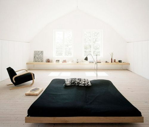 minimal bedroom (I know my life has too much stuff in it to ever actually achieve this, but it's still nice to look at.)