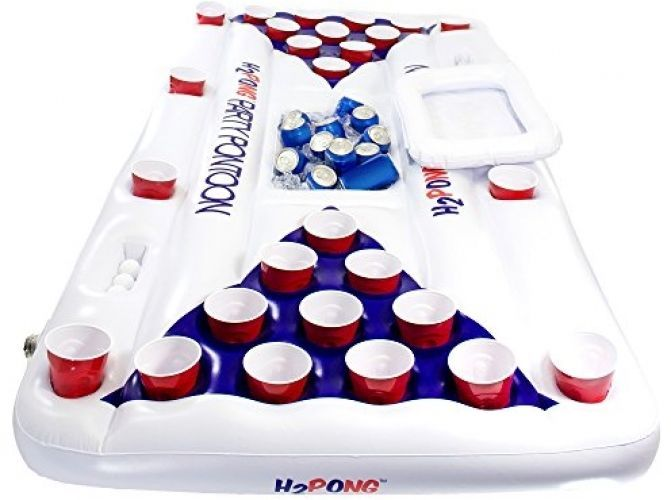 Fun Inflatable Beer Pong Table with Built In Cooler Floating Pool Party Game  #PlayPlatoon