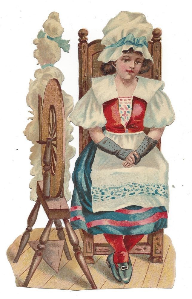 Victorian Die Cut Scrap Girl with a Spinning Wheel