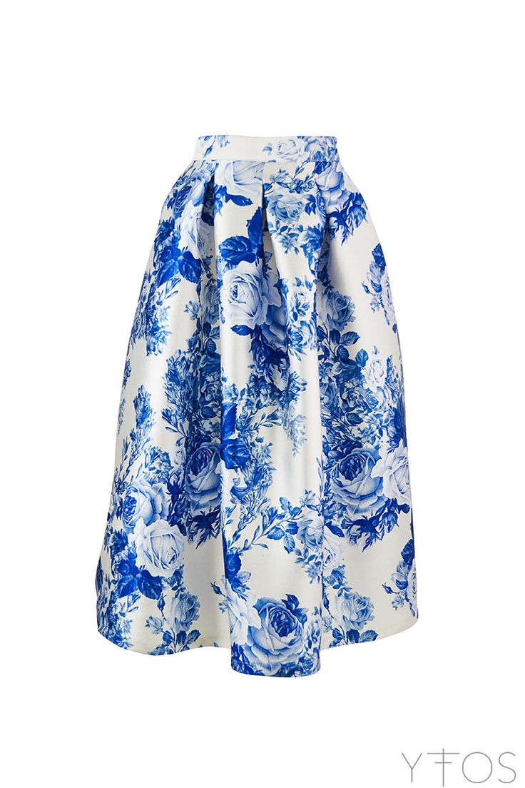 Yfos Online Shop | Clothes | Skirts | Blue Roses Midi Skirt by Milkwhite