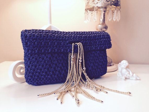 Blue crochet clutch with beaded catch by CrochetGrace on Etsy