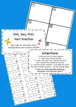 """Here's a """"Roll, Say, Play"""" game for practicing multiplication and division facts.  Could use for any facts though"""