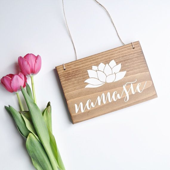 Namaste   Hanging Yoga Sign  Hanging Namaste by AllyBethDesignCo