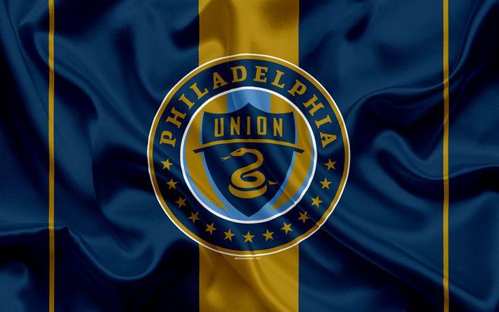 Download imagens Filadélfia União FC, Americano Futebol Clube, MLS, EUA, Major League Soccer, emblema, logo, seda bandeira, Filadélfia, Pensilvânia, futebol