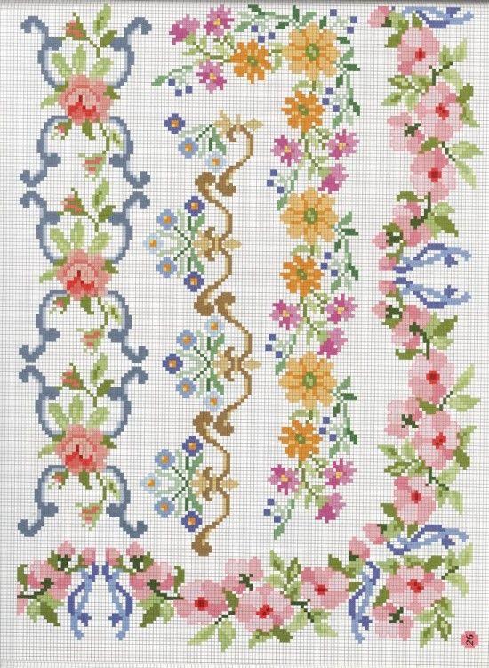 Kanaviçe çiçek bordür köşe