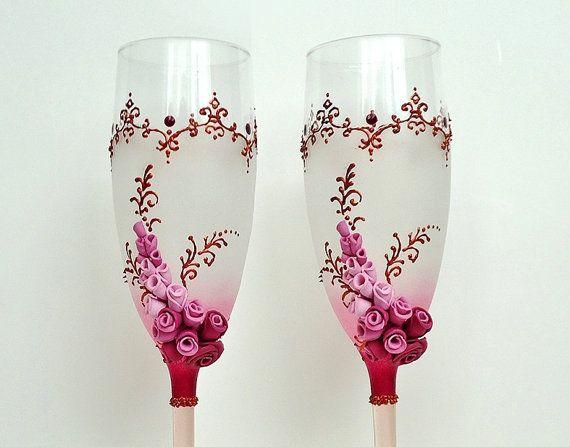 Bordeaux Wedding Champagne Glasses Toasting от JoliefleurDeco